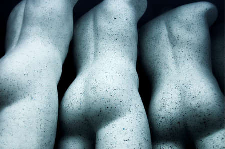 naked statue: Three naked mannequins Stock Photo
