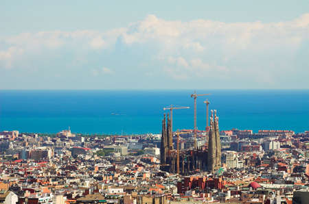guell: Panorama from Barcelona City from Park Guell by Gaudi, Spain