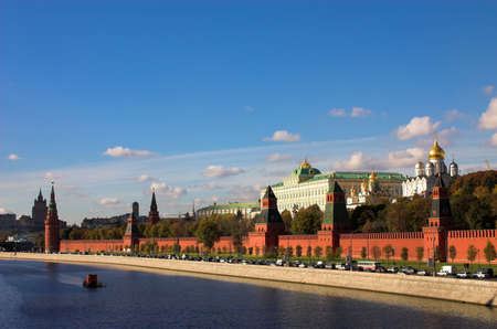 moskva river: Kremlin wall and Moskva river, Moscow, Russia Stock Photo