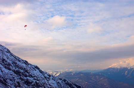 paraglide: Paraglide in mountains, Red Polyana, Sochi, Russia Stock Photo
