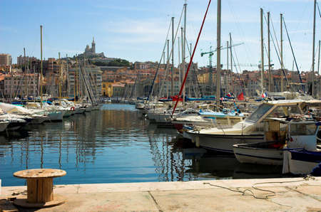 Vessel yachts in Vieux port in Marseille, France
