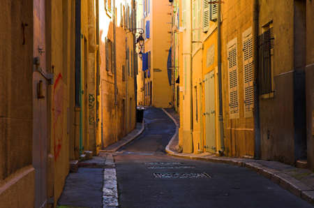 Bend streets in the old port part of Marseille, France Stock Photo - 749872