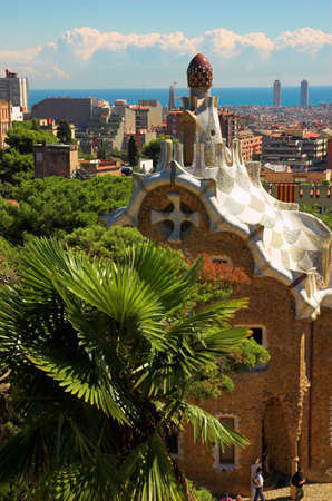 Spice-cake house in Park Guell by Antoni Gaudi, Barcelona, Spain photo