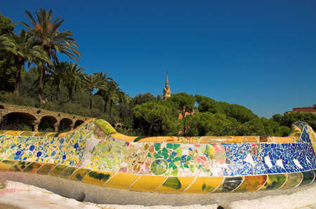 Antoni Gaudi hause and ceramic bench in Park Guell, Barcelona, Spain