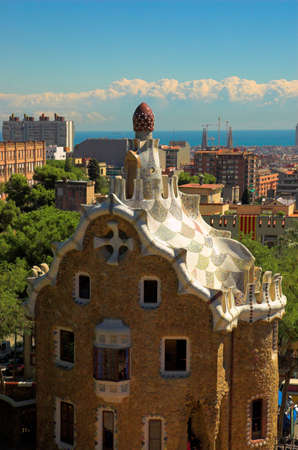 spicecake: Spice-cake house in Park Guell by Antoni Gaudi, Barcelona, Spain