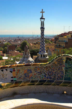 spicecake: Spice-cake houses in Park Guell by Antoni Gaudi, Barcelona, Spain Stock Photo