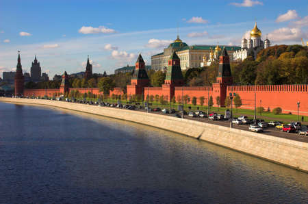 moskva river: Kremlin wall and blue Moskva river, Moscow, Russia