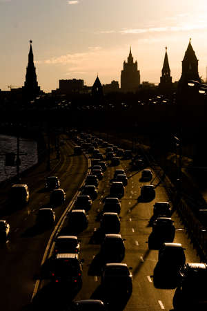 Moscow traffic jam at quay near Kremlin towers, Russia photo