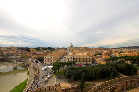 panoramic view of old and new Rome, Italy