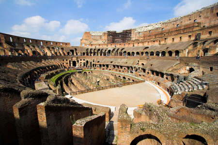 Inside of famous Colosseum or Coliseum in Rome (Flavian Amphitheatre), Italy