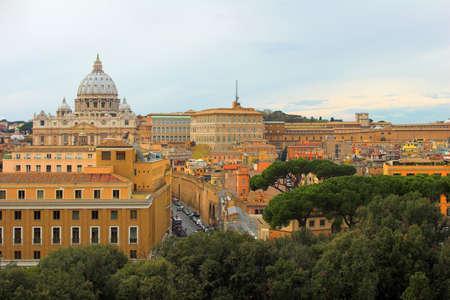 Saint Peters Basilica, panoramic view, Rome, Italy photo
