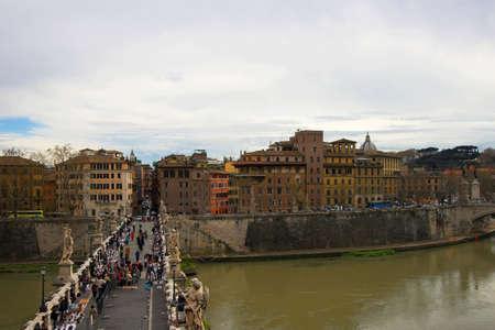 hadrian: Porte SantAngelo or Bridge of Hadrian in Rome, Italy