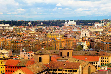 emmanuel: Color panoramic view Rome catholic basilics and monuments, Italy