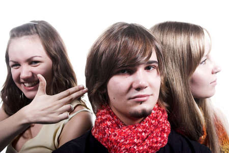 handsome guy with red scarf and two beautiful girls photo