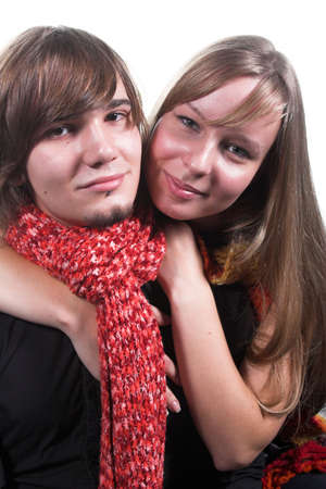 handsome guy with red scarf near beautiful girl  photo