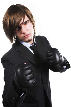 strong businessman in costume with box gloves photo