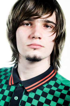 portrait of handsome guy in green and black shirt Stock Photo - 2101349