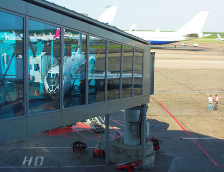 Ladder reflections and airplanes, Domodedovo airport, Moscow, Russia photo