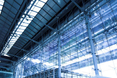 grey unusual geometric ceiling of office building  Stock Photo
