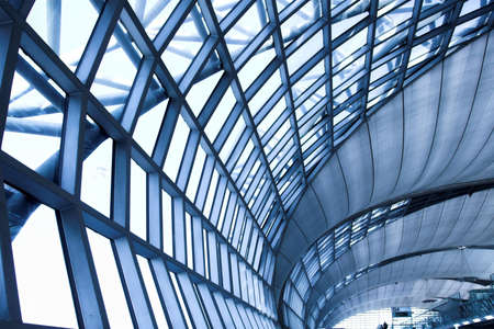 grey unusual geometric ceiling of office building Stock Photo - 2590916