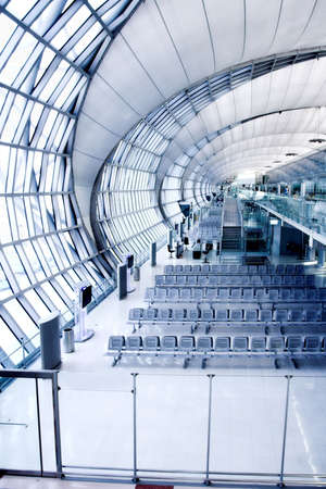 metallic stairs: waiting room gate,  place in airport, perspective view Stock Photo