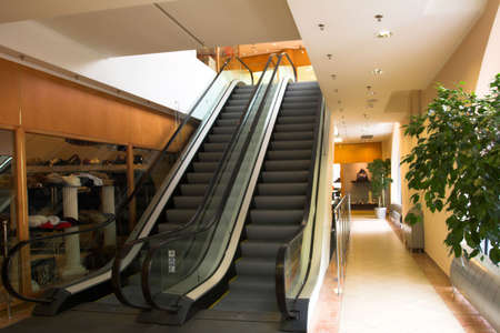 Two escalators in modern shopping mall Stock Photo - 2690420