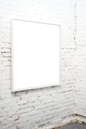 brick wall in museum with empty frame Stock Photo - 3021157