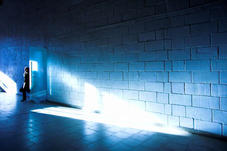 White brick wall and light ray photo