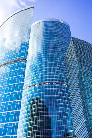 erect: New skyscrapers business centre in moscow city, russia Stock Photo