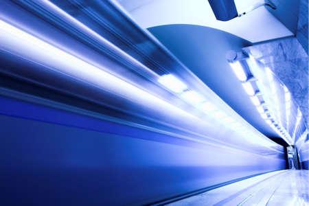 blur subway: Fast train subway hall platform Stock Photo