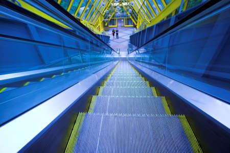 Blue move escalator in modern office centre Stock Photo - 3179406