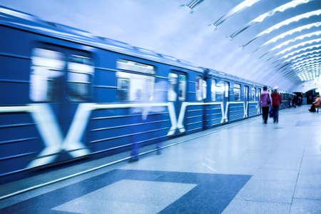 crowd waiting train on platform in subway Stock Photo