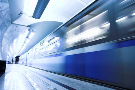 Blue fast train stay at hall platform Stock Photo - 3184049