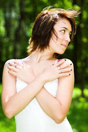 Girl in white in park photo