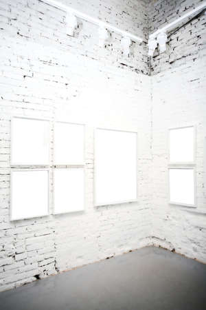 brick wall in museum with empty frames Stock Photo - 3235991