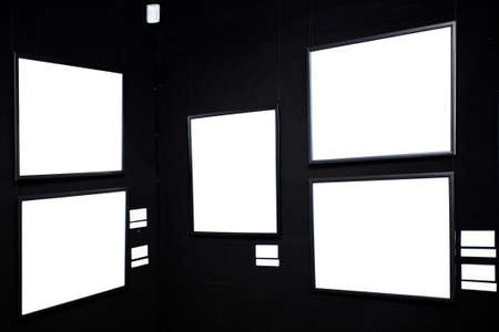black wall in museum with empty frames Stock Photo - 3235978
