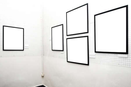 walls in museum with empty frames photo