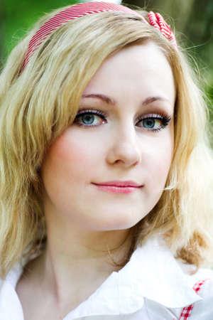 Blonde beautiful girl portrait photo
