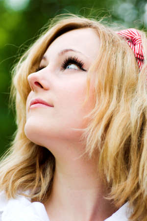 Blonde beautiful girl portrait profile photo