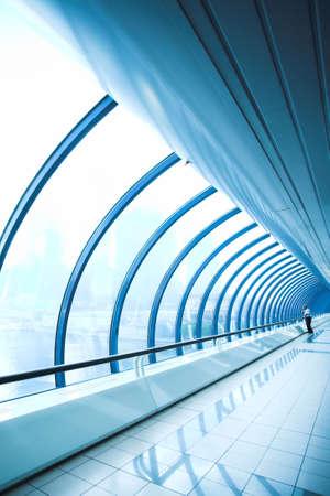 glass corridor in office centre photo
