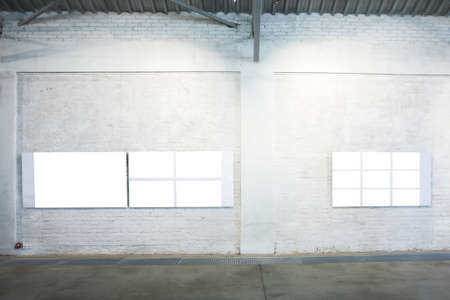cadre: Two empty white large banners on exposition Stock Photo