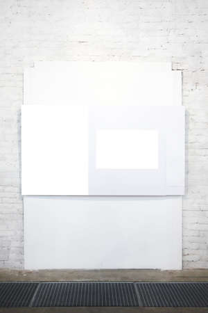Empty white banner on exposition photo