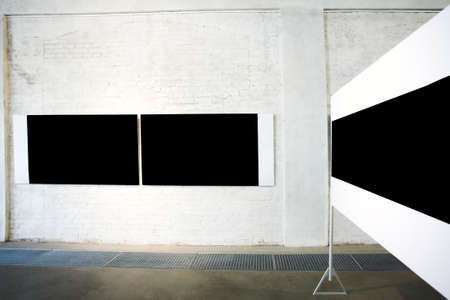 proto: Three empty black large banners on exposition