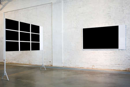 Two empty black large banners on exposition photo