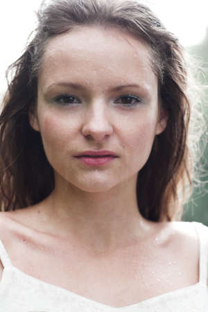 Girl portrait stay under rain drops Stock Photo - 3272066