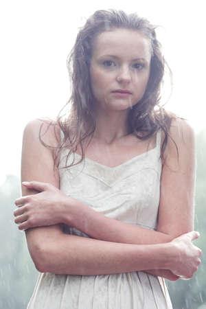 Girl portrait stay under rain drops Stock Photo - 3272051