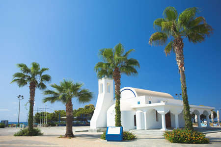 house of worship: White church and palms, Agia napa, Cyprus