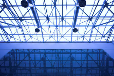 glass ceiling: Blue glass ceiling in office centre