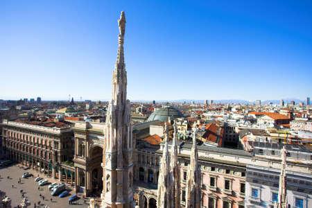 duomo: Summer panorama from Duomo roof, Milan, Italy