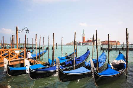 waterbus: Venice - Italy, Gondolas near the San Marco on Grand channel Stock Photo